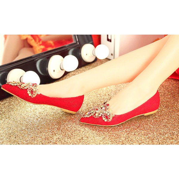 Women's Red Lace with Rhinestone Pointed-toe Flat Wedding Shoes image 2