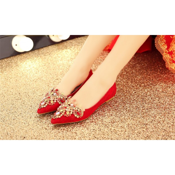 Women's Red Lace with Rhinestone Pointed-toe Flat Wedding Shoes image 3