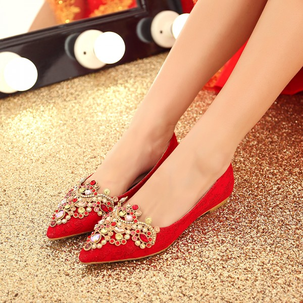 Women's Red Lace with Rhinestone Pointed-toe Flat Wedding Shoes image 1