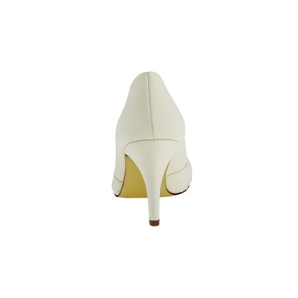 Women's White Satin Bow Bridesmaid Stiletto Heel Pumps Bridal Heels image 3