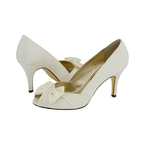 Women's White Satin Bow Bridesmaid Stiletto Heel Pumps Bridal Heels image 1