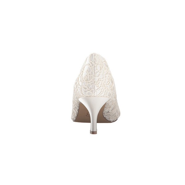 White Bridal Heels Peep Toe Lace Kitten Heels Pumps for Wedding image 3