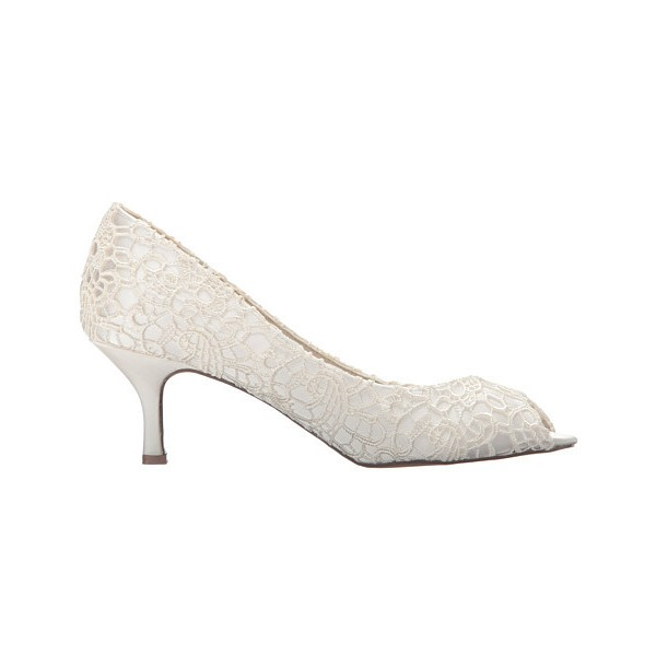 White Bridal Heels Peep Toe Lace Kitten Heels Pumps for Wedding image 4