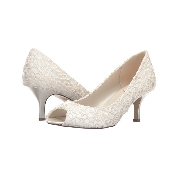 White Bridal Heels Peep Toe Lace Kitten Heels Pumps for Wedding image 1