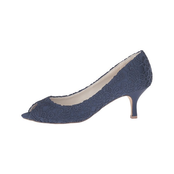 Navy Lace Heels Peep Toe Kitten Heel Pumps for Bridesmaid image 3