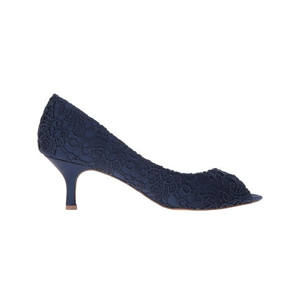 Navy Lace Heels Peep Toe Kitten Heel Pumps for Bridesmaid image 2