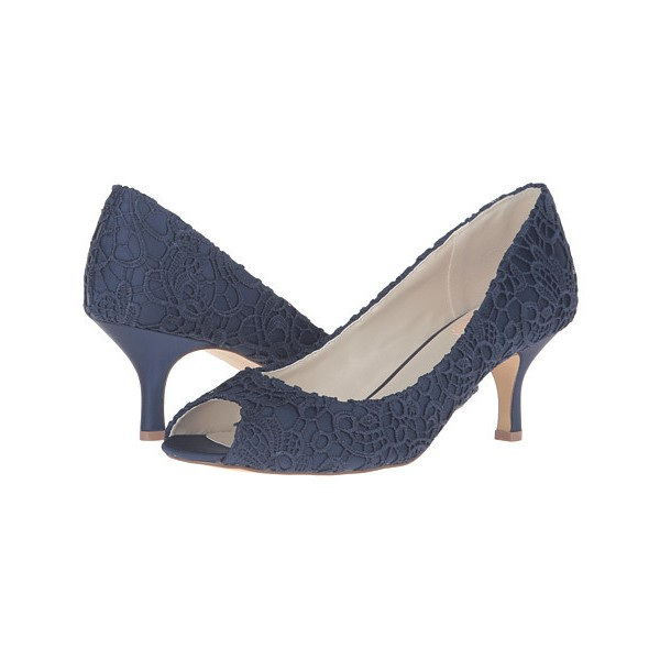Navy Lace Heels Peep Toe Kitten Heel Pumps for Bridesmaid image 1