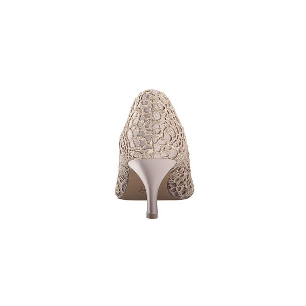 Women's Beige Lace Bridal Heels Peep Toe Kitten Heels Pumps For Wedding  image 2