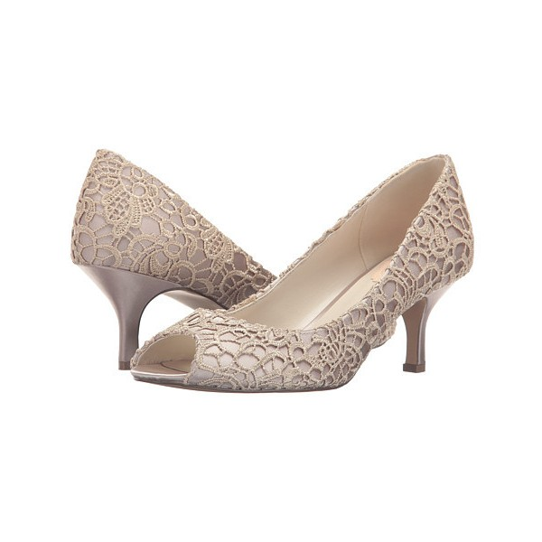 Nude Bridal Shoes Lace Heels Peep Toe Kitten Heel Pumps for Wedding image 1