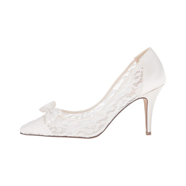 White Bridal Shoes Lace Heels Pointy Toe Pumps with Bow for Wedding image 2