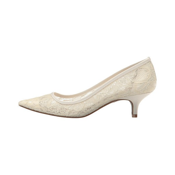 Ivory Wedding Shoes Lace Heels Pointy Toe Kitten Heel Pumps image 2