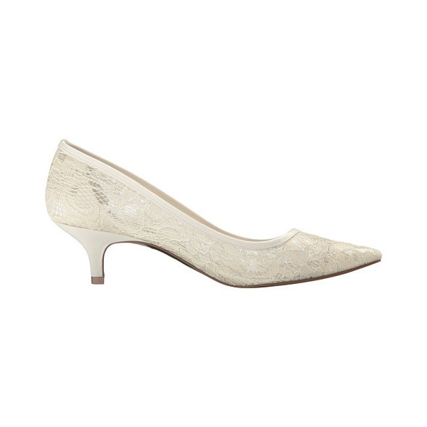 Ivory Wedding Shoes Lace Heels Pointy Toe Kitten Heel Pumps image 3