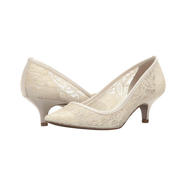 Ivory Wedding Shoes Lace Heels Pointy Toe Kitten Heel Pumps image 1