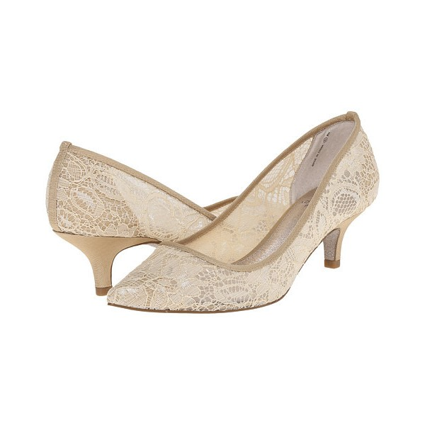 Women's Beige Lace Low-cut Pointed Toe Pencil Heel Pumps Bridal Heels  image 1