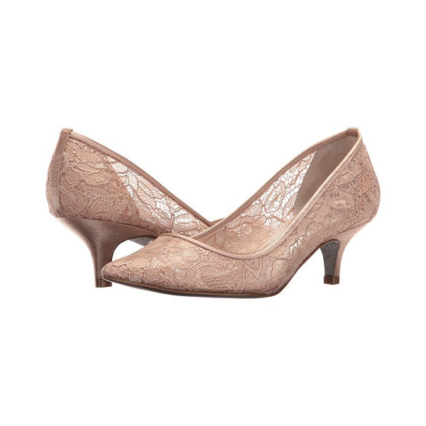 Blush Wedding Shoes Lace Heels Pointy Toe Kitten Heel Pumps Image 1