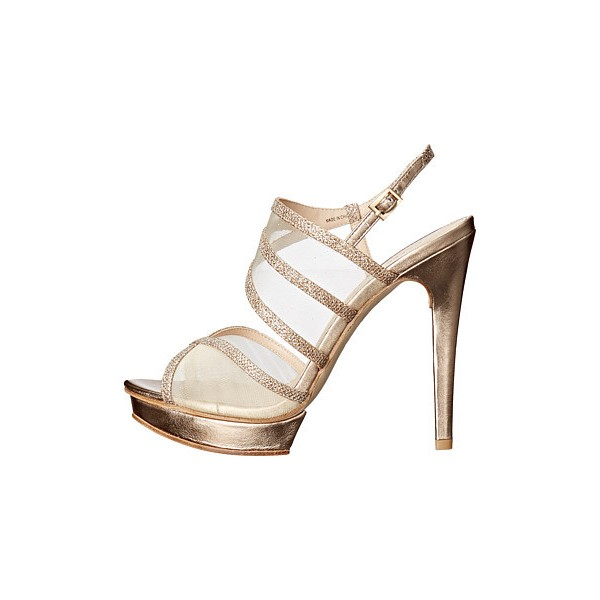 Women's Champagne Strappy Sling Back Stiletto Heel Bridal Shoes image 3