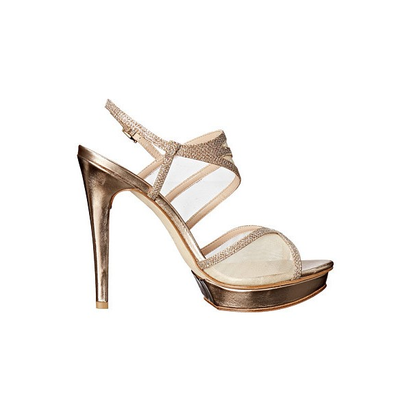 Women's Champagne Strappy Sling Back Stiletto Heel Bridal Shoes image 2