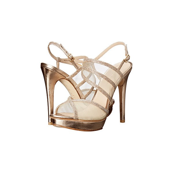 Women's Champagne Strappy Sling Back Stiletto Heel Bridal Shoes image 1