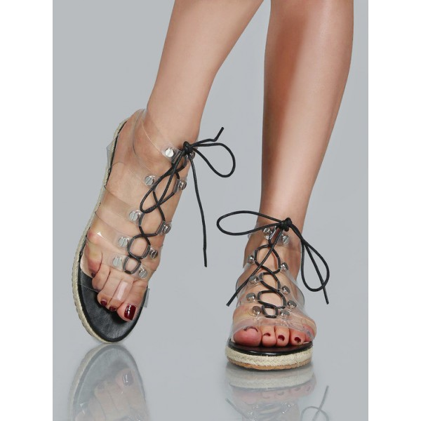 Clear Lace up Sandals Comfortable Strappy Flats  image 3