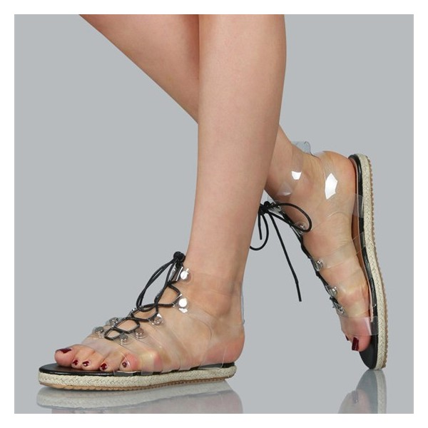 Clear Lace up Sandals Comfortable Strappy Flats  image 1