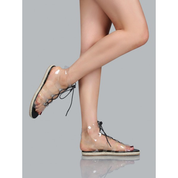 Clear Lace up Sandals Comfortable Strappy Flats  image 4