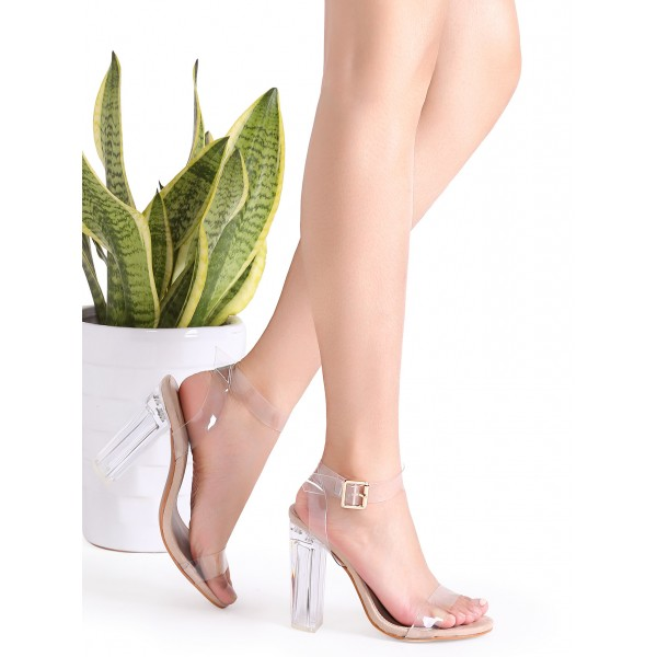 Women's Transparent Chunky Heel Ankle Strap Open Toe Sandals image 3