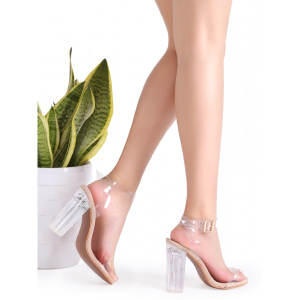 Women's Transparent Chunky Heel Ankle Strap Open Toe Sandals image 2
