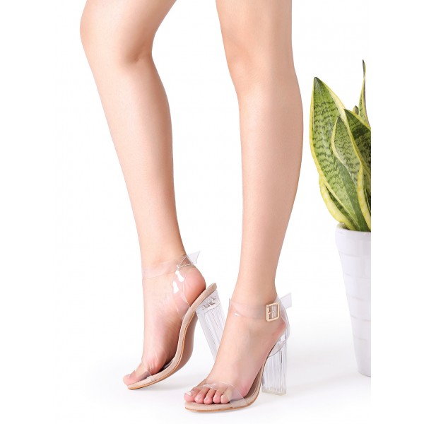 Women's Transparent Chunky Heel Ankle Strap Open Toe Sandals image 1