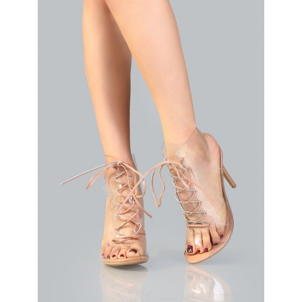Blush PVC Lace up Boots Peep Toe Stiletto Heels Clear Summer Boots image 4