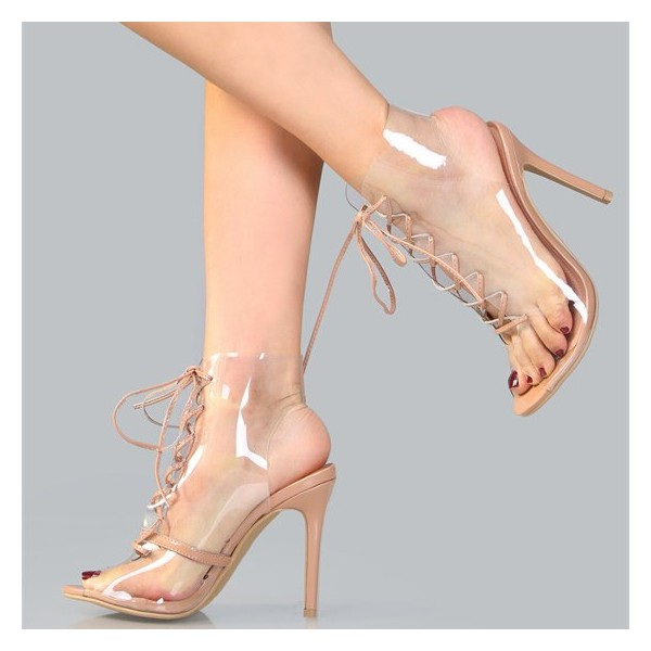 Blush PVC Lace up Boots Peep Toe Stiletto Heels Clear Summer Boots image 1