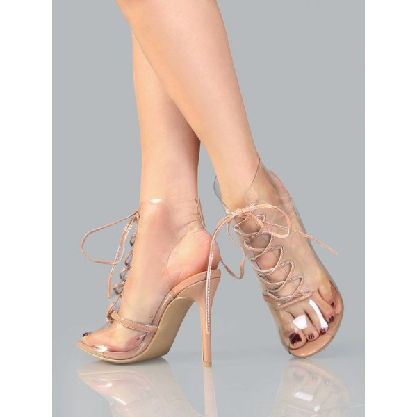 Blush PVC Lace up Boots Peep Toe Stiletto Heels Clear Summer Boots image 2