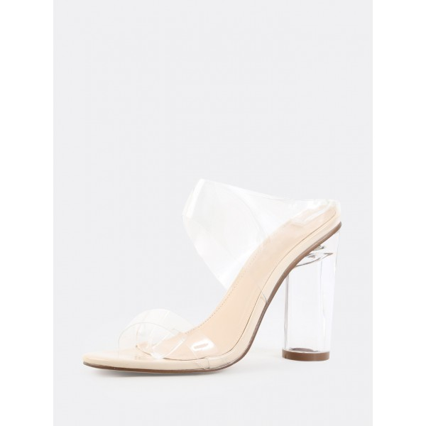 PVC Clear Sandals Transparent Open Toe Chunky Heel Mules image 2
