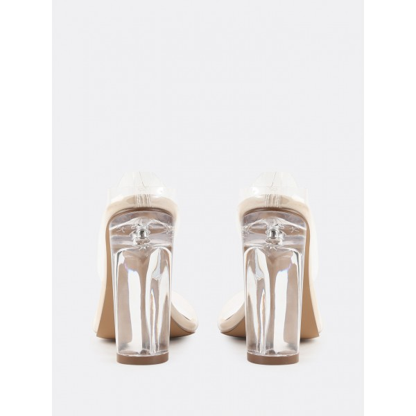 PVC Clear Sandals Transparent Open Toe Chunky Heel Mules image 3