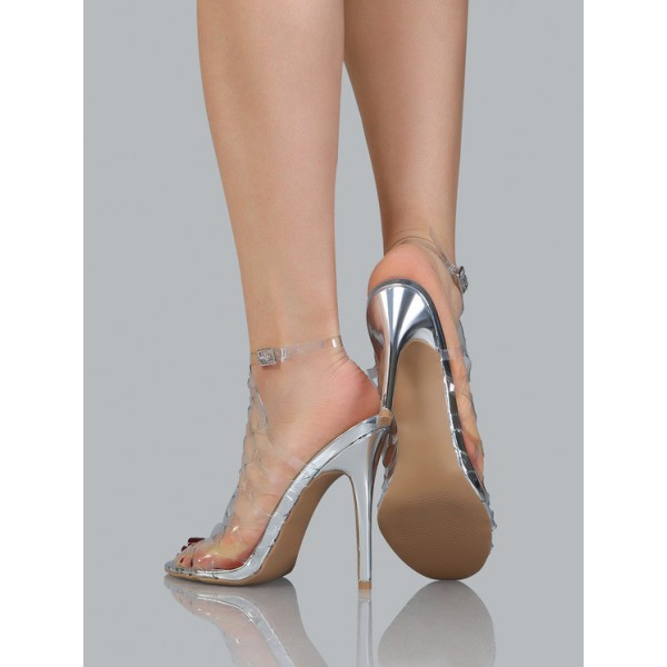 Clear Heels Silver Stiletto Heels Hollow out Sandals image 3
