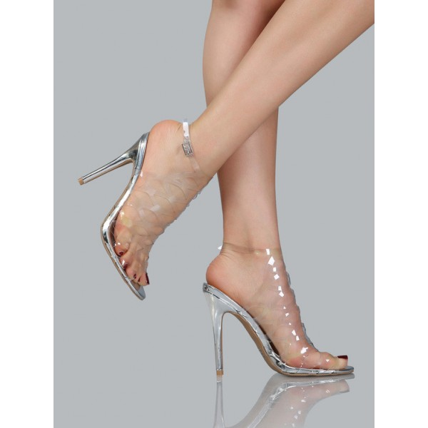 Clear Heels Silver Stiletto Heels Hollow out Sandals image 4