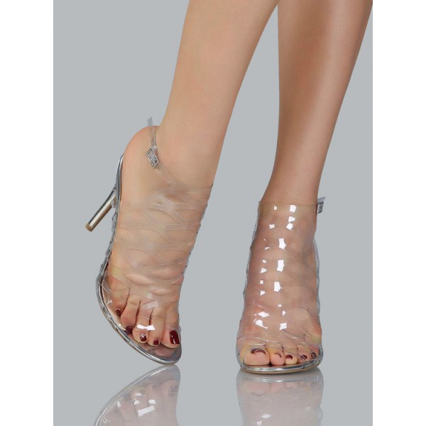 Clear Heels Silver Stiletto Heels Hollow out Sandals image 2