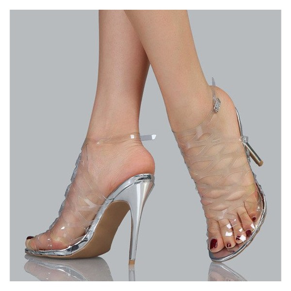 Clear Heels Silver Stiletto Heels Hollow out Sandals image 1