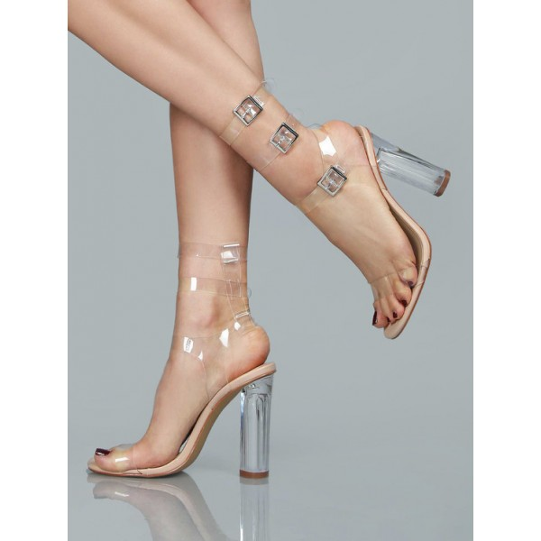 Women's Clear Heels Open Toe Chunky heels  Ankle Straps Sandals image 2