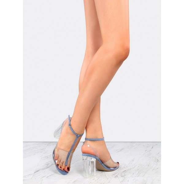 Women's Blue Transparent T-strap Peep Toe Chunky Heels Sandals image 3
