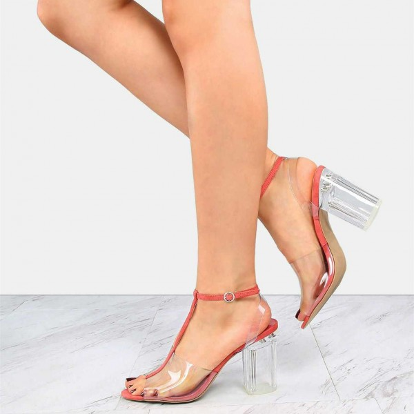 Women's T-strap Peep Toe Chunky Clear Heels Sandals image 1