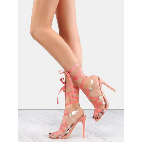Pink and Clear Strappy Sandals Open Toe Stilettos Heels image 1