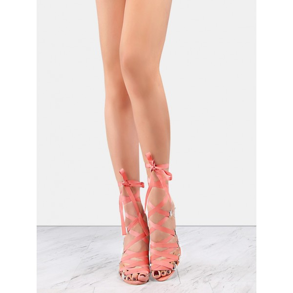 Pink and Clear Strappy Sandals Open Toe Stilettos Heels image 2