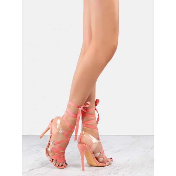Pink and Clear Strappy Sandals Open Toe Stilettos Heels image 3