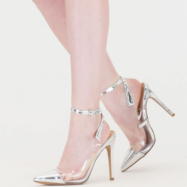 f07afa1fdf4 Women s Silver Clear Heels Pointy Toe Ankle Strap Stiletto Heel Pumps image  ...