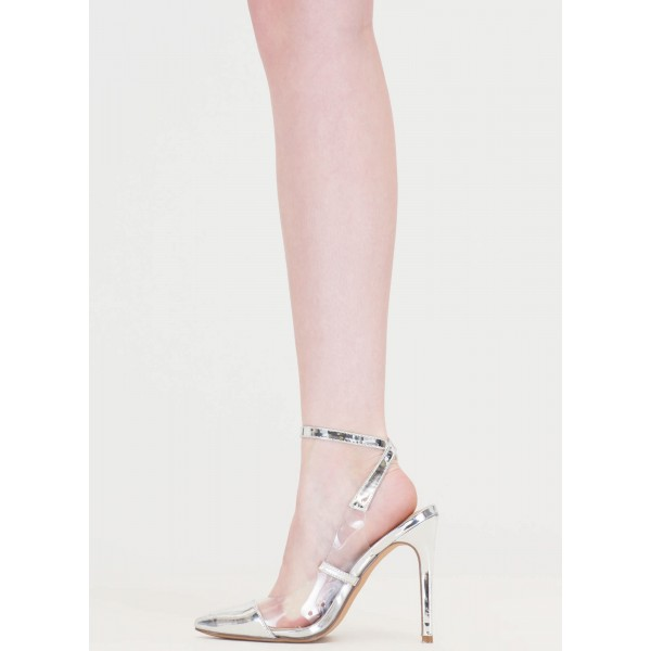 Women's Silver Clear Heels Pointy Toe Ankle Strap Stiletto Heel Pumps image 2