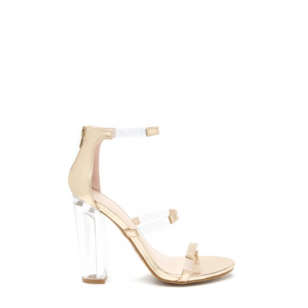 Women's Ankle Strap Clear Chunky Heel Gladiator Sandal image 2