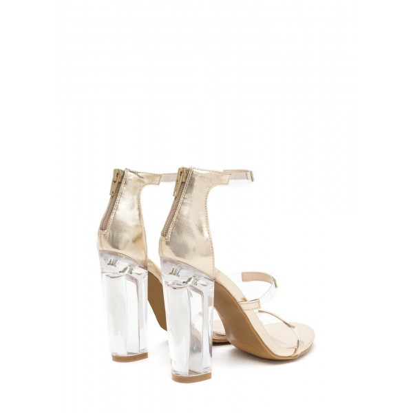 Women's Ankle Strap Clear Chunky Heel Gladiator Sandal image 3