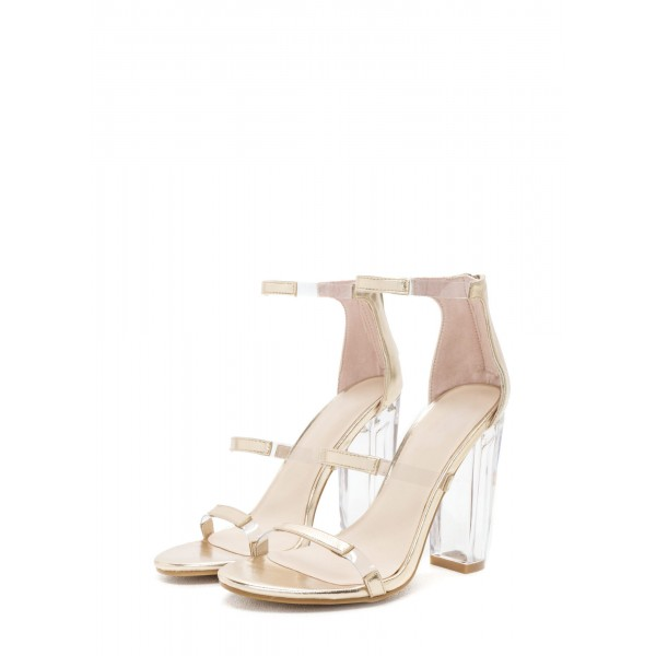 Women's Ankle Strap Clear Chunky Heel Gladiator Sandal image 1