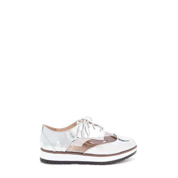 Silver Women's Oxfords Lace-up Vintage Comfortable Shoes image 4