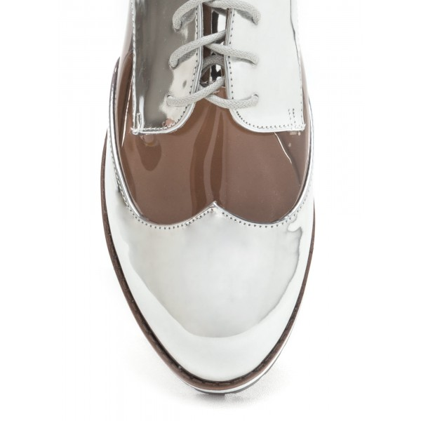 Silver Women's Oxfords Lace-up Vintage Comfortable Shoes image 2